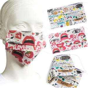 2-Ply 3-Fold Cotton Mask Natural White Design Full Surface