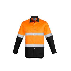 Mens Hi Vis Spliced Industrial Shirt - Hoop Taped