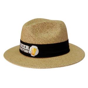Natural Madrid Style String Straw Hat with material under brim