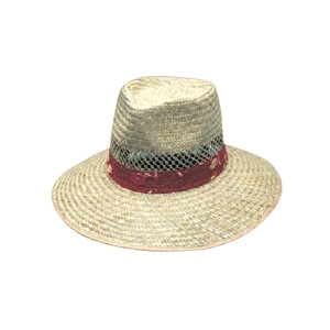 Natural Straw hat with green under