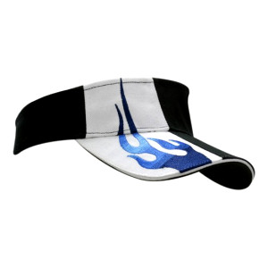 Brushed Heavy Cotton Visor with Sandwich Trim & Flame Embroidery on Crown &