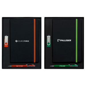 Edge A5 Journal Set with Havana Pen & 2GB Swivel USB