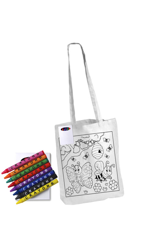 Colouring Long Handle Cotton Bag & Crayons  Image #1