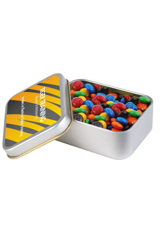 M&M's in Silver Rectangular Tin  Image #1