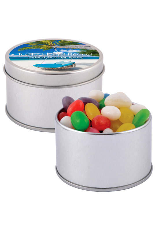 Assorted Colour Mini Jelly Beans in Silver Round Tin  Image #1