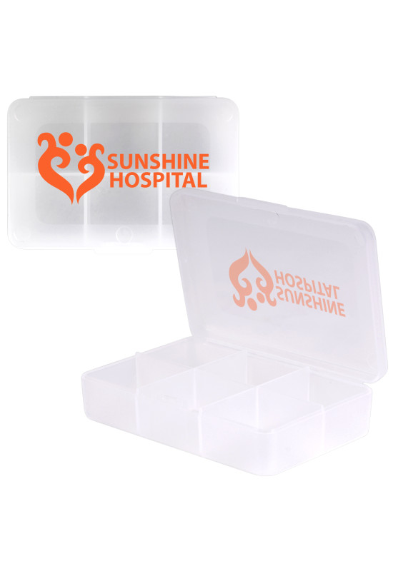 Clear Rectangular 6 Compartment Pill Box  Image #1