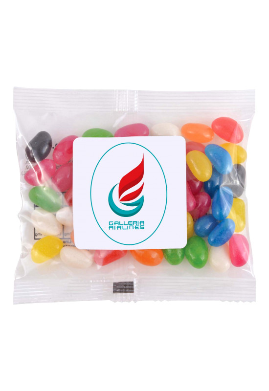Assorted Colour Mini Jelly Beans in 50 Gram Cello Bag  Image #1