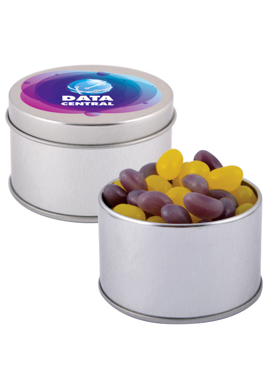 Corporate Colour Mini Jelly Beans in Silver Round Tin  Image #1