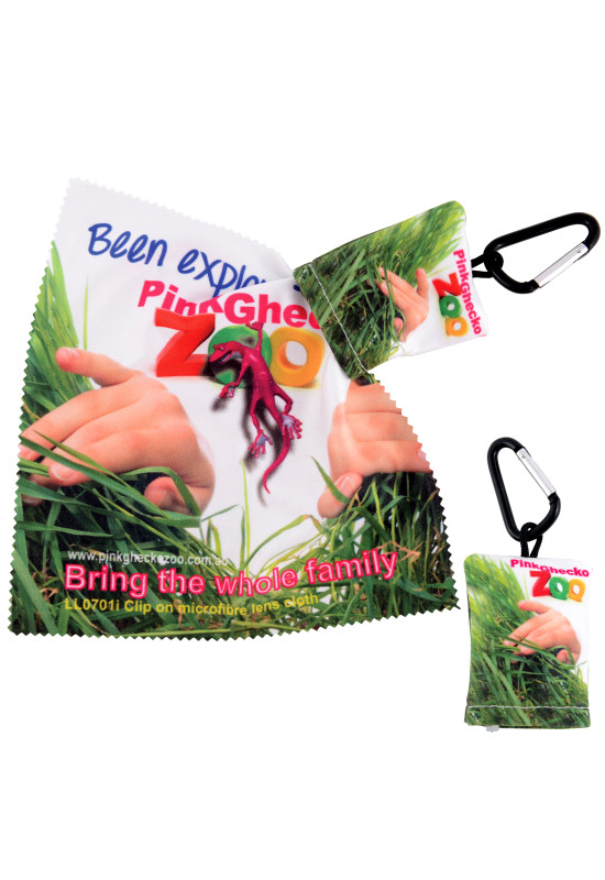 Custom Superior Hi Microfibre Lens Cloth in Pouch with Carabiner  Image #1