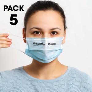 5 Pack - Disposable Face Masks   Image #1