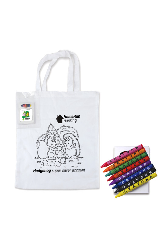 Colouring Short Handle Cotton Bag & Crayons  Image #1