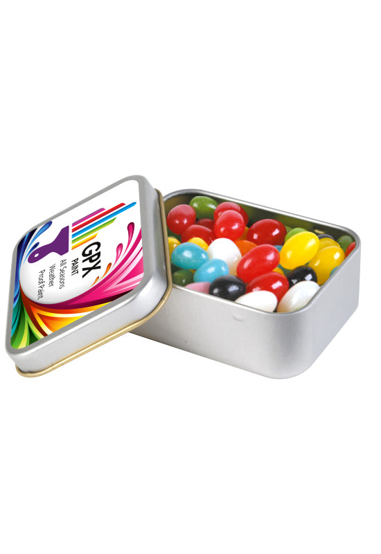 Assorted Colour Mini Jelly Beans in Silver Rectangular Tin  Image #1