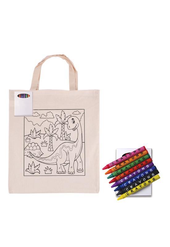 Colouring Short Handle Calico Bag & Crayons  Image #1