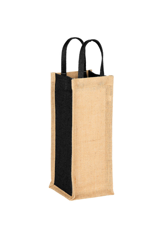 Jute Single Bottle Wine Tote  Image #1