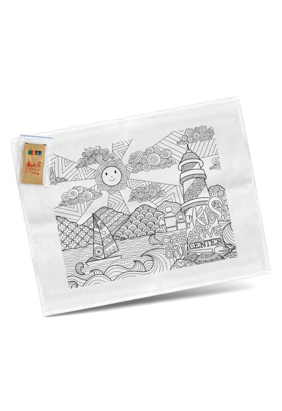 Cotton Colouring Tea Towel  Image #1