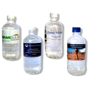 Bottles of water with custom labels