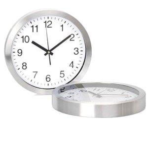 Sleek aluminium trim wall clock
