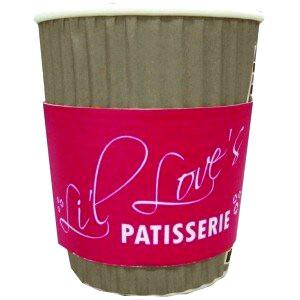Cardboard coffee cup with branded sleeve