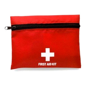 First aid kit in red bag
