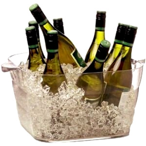 Clear ice bucket with wine