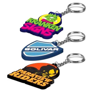 Rubber keyrings in the shape of motorbikes