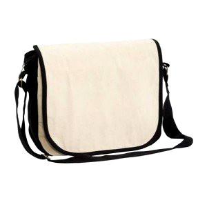 Cotton satchel white with black