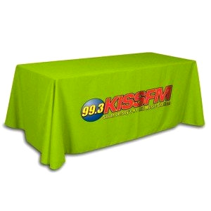 Green fitted table cloth with branding