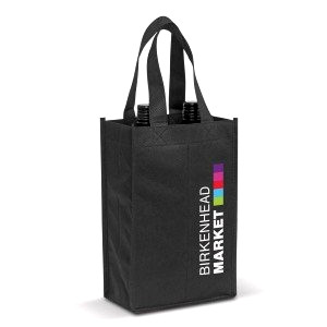 Dark branded wine tote bag