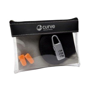 Travel accessories in clear plastic pack